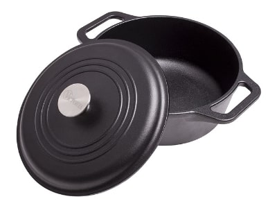 Victoria Cast Iron Dutch Oven with Lid. Stock Pot with Dual Handles