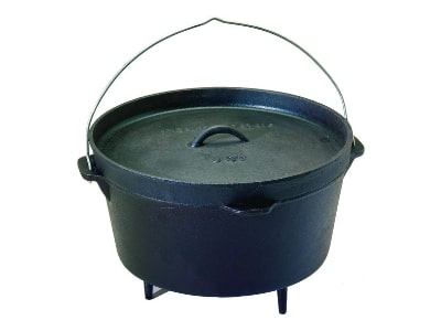 Texsport Cast Iron Dutch Oven with Legs, Lid, Dual Handles and Easy Lift Wire Handle, 8 Quart