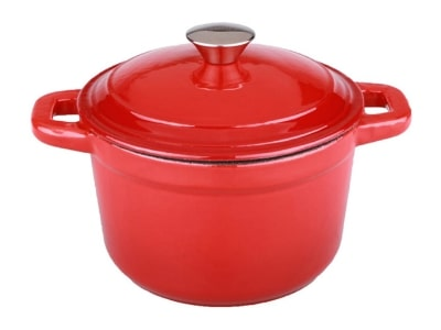 Berghoff Neo Cast Iron Stockpot with a Lid, Red, 3-Qt.