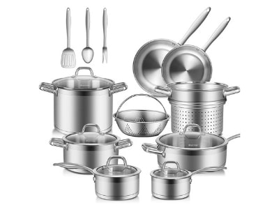Duxtop Professional Stainless Steel Pots and Pans Set, 17PC Induction Cookware Set