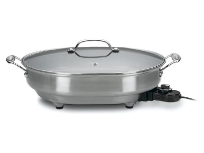 Cuisinart CSK-150 1500-Watt Nonstick Oval Electric Skillet,Brushed Stainless