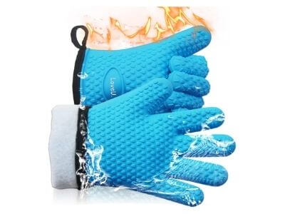 Loveuing Kitchen Oven Gloves - Silicone and Cotton Double-Layer Heat Resistant