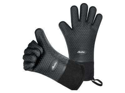 Auzilar Silicone Cooking Gloves, Grilling Gloves, Heat Resistant Gloves BBQ Kitchen Silicone Oven Mitts