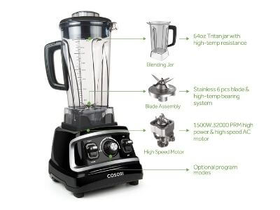 COSORI Blender 1500W for Shakes Professional Heavy Duty Smoothie Maker With Variable Speeds