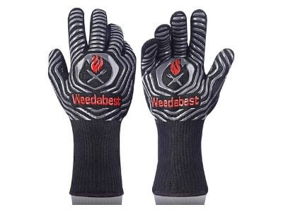 SUMPRO Hot BBQ Gloves Heat Resistant Kitchen Oven Mitts